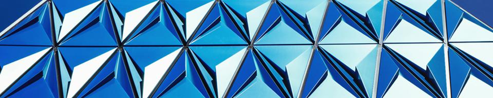Cladding on a blue triangle building